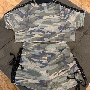 Army Camo Crop Top & Short Set 2pc